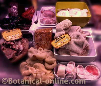parada de carne en un mercado