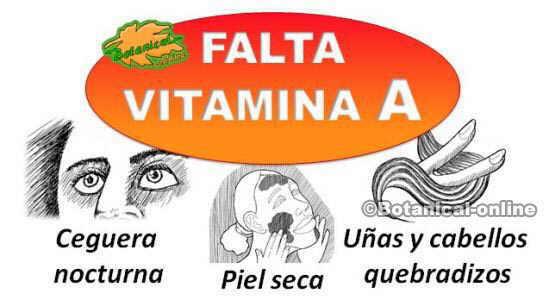sintomas deficit carencia vitamina a betacaroteno