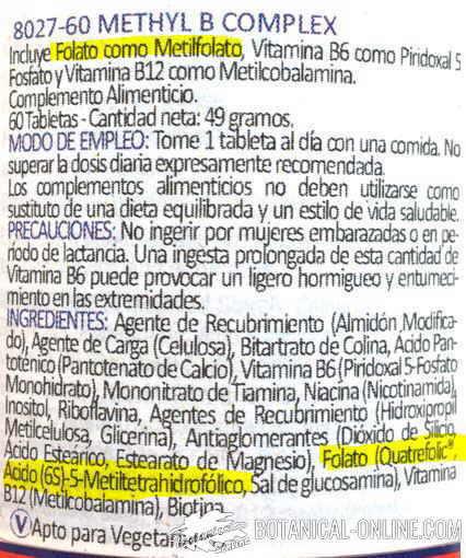 etiqueta acido folico metil