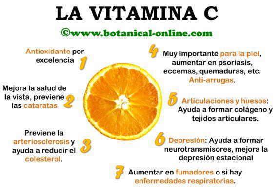 Propiedades curativas de la vitamina c para la salud
