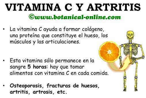 Vitamina C para los huesos, roturas, artritis, artrosis, ayuda a formar colágeno