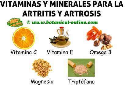suplementos de vitaminas y minerales para el tratamiento de la artritis y atrosis