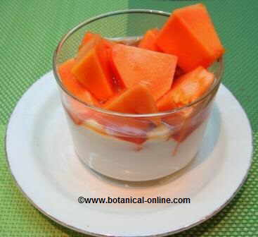 Yogur con papaya