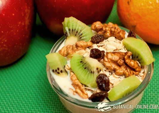 muesli con yogur, frutos secos, nueces avena y pasas