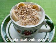 yogur desnatado con plátano y avena
